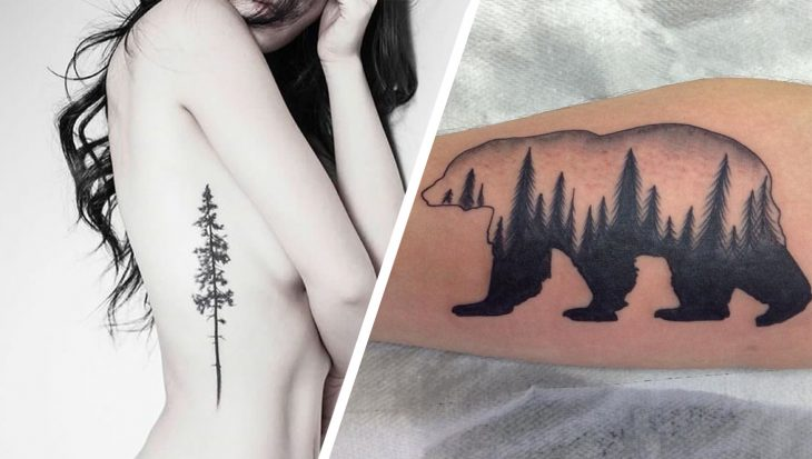 Tatuajes pino y oso con un bosque