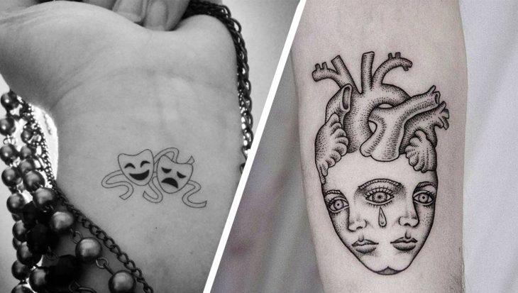 Tatuaje mascaras para artes dramáticas