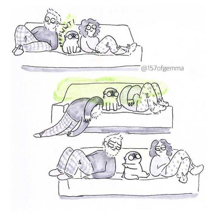 ilustracion de pareja en sillon con pug