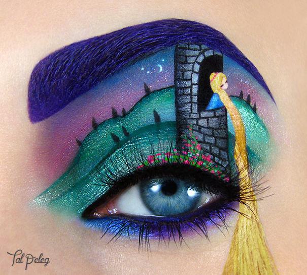 Ojo de una chica usado para pintar a rapunzel