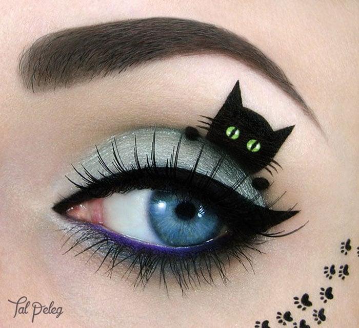 Ojo de una chica usado para pintar un gato