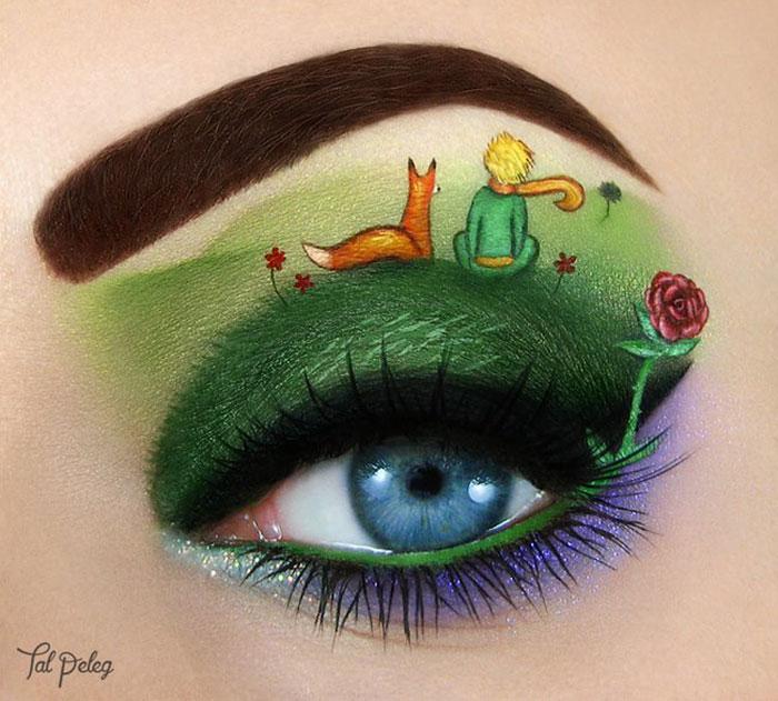 Ojo de una chica usado para pintar una escena del libro el principito