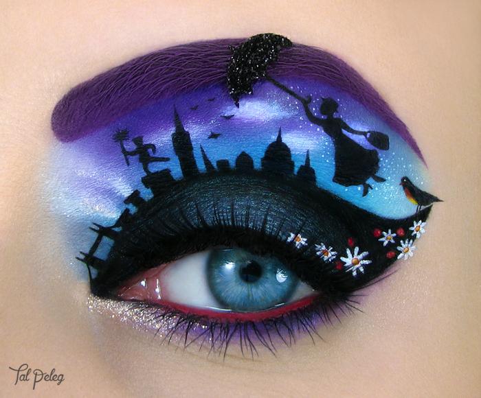 Ojo de una chica usado para pintar una escena de la película Merry Poppins