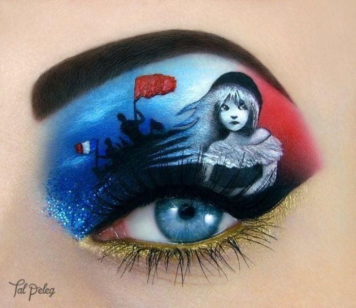 Ojo de una chica usado para pintar una escena del libro de los miserables