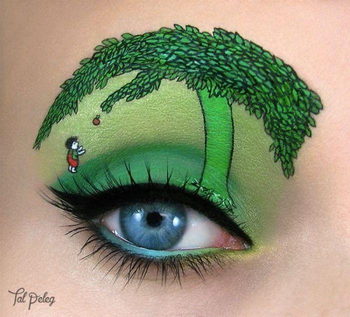 Ojo de una chica usado para pintar un árbol