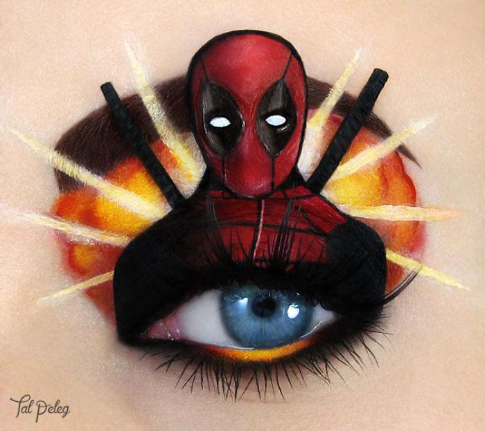 Ojo de una chica usado para pintar al personaje Dead Pool