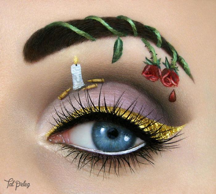 Ojo de una chica usado para pintar una escena de romeo y julieta