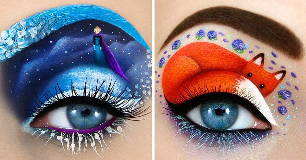 Esta chica usa como lienzo sus ojos para crear obras de arte
