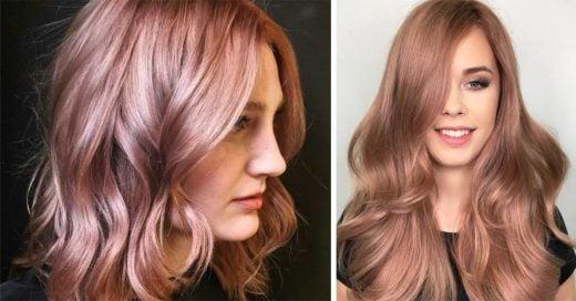 Nueva tendencia de cabello color Rosa-dorado