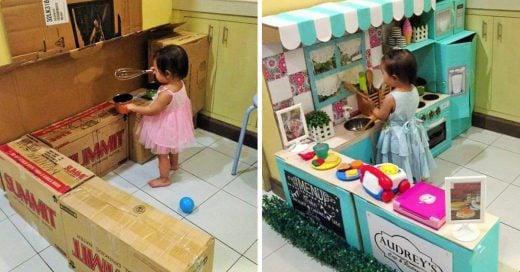 Esta madre creó una mini cocina con cajas para su pequeña hija