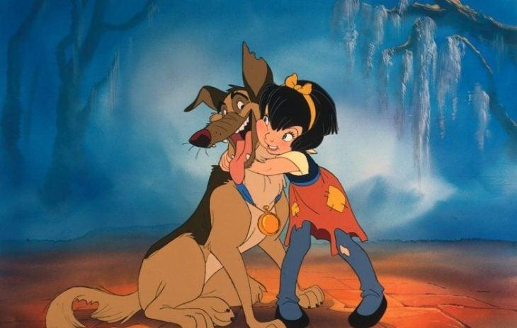 niña abrazando a perro pastor aleman dibujos animados