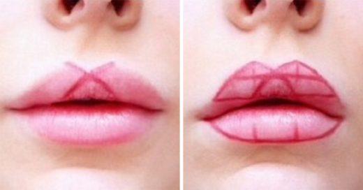 Empezó a dibujar formas geométricas en sus labios…¡El resultado es impresionante!