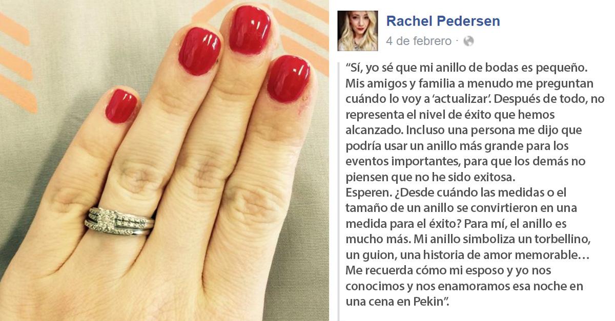 Mujer defiende su pequeño anillo de compromiso en Facebook