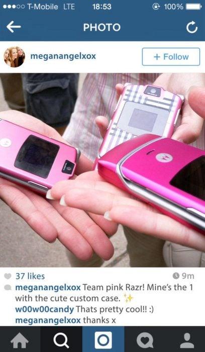 fotografìa en instagram telefonos LG rosas
