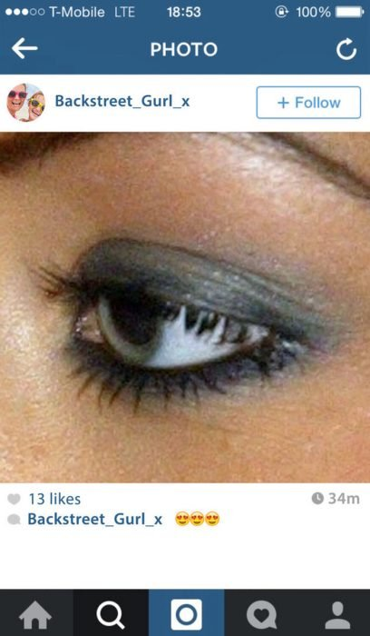 fotografìa en instagram ojo con delineador y brillos
