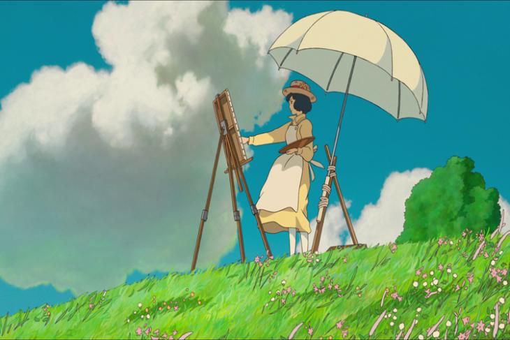 dibujos animados mujer con lienzo y sombrilla