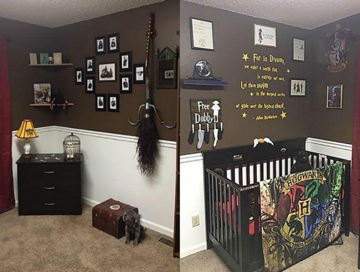 collage fotografias de Habitación para recién nacido inspirado en Harry Potter