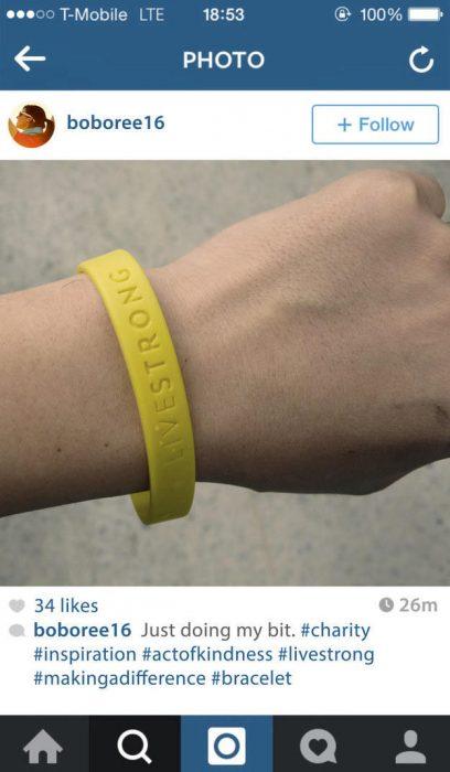 fotografìa en instagram pulcera amarilla de caridad