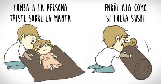 Adorables ilustraciones que nos explican cómo cuidar a una persona triste