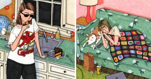 ilustraciones muestran qué hacen las mujeres cuando están a sola