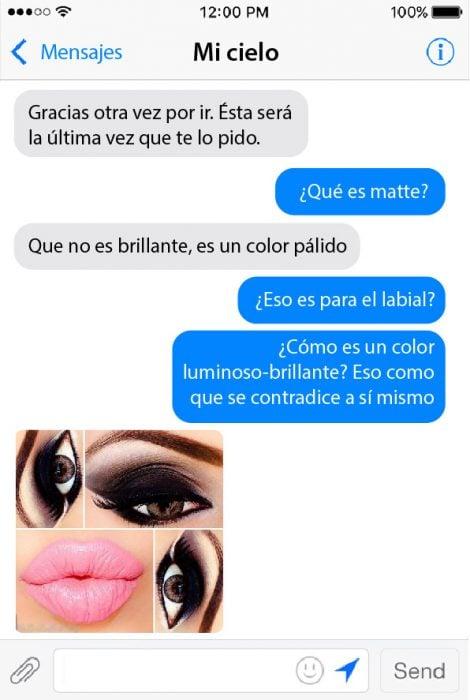 conversacion en chat de pareja y foto de maquillaje