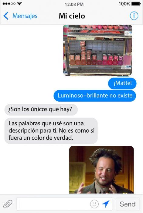 conversacion de chat de pareja cosmeticos