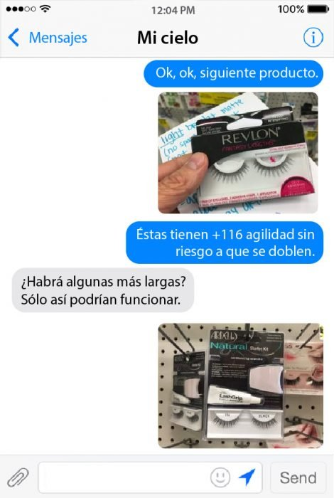 conversacion de chat entre pareja pestañas postizas