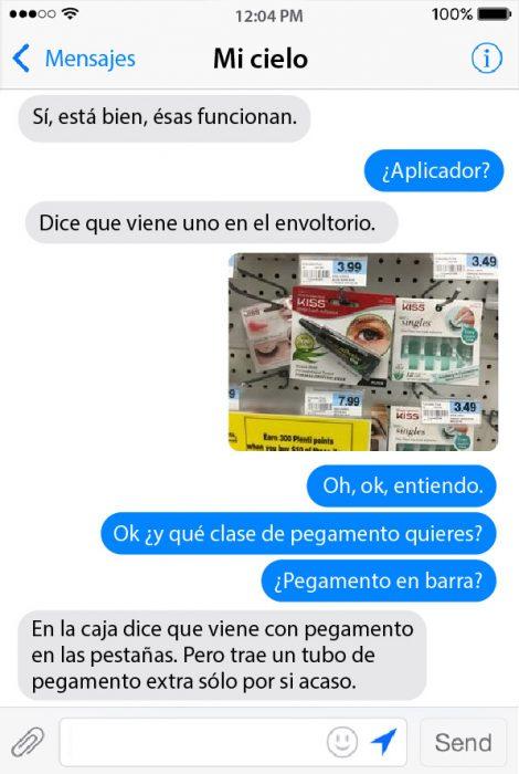 conversacion de chat entre pareja maquillaje