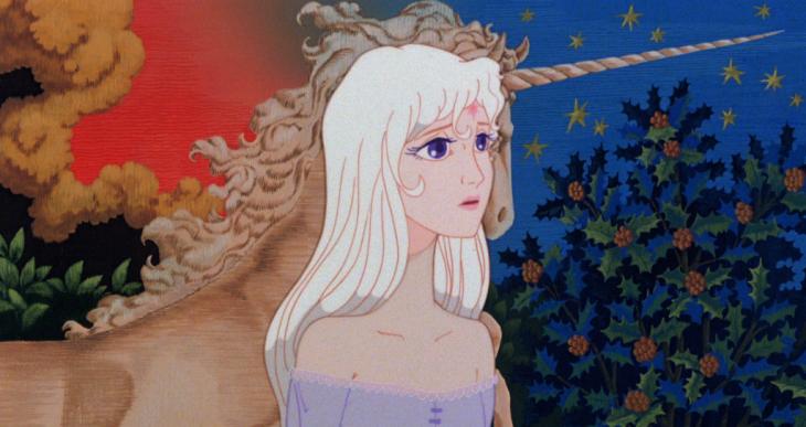 dibujos animados mujer de cabello blanco y unicornio