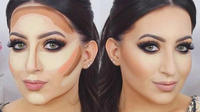 mujer maquillada con tecnica de contouring