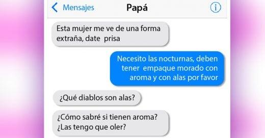 Conversación de de chica con su padre, el cual le está comprando toallas sanitarias