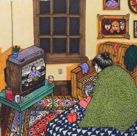 Ilustraciones Sally Nixon chica mirando la televisión