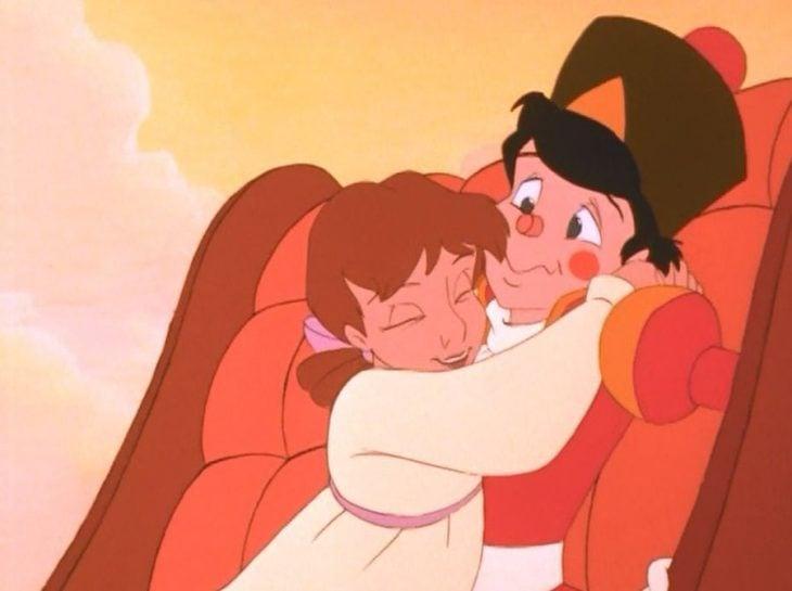 dibujos animados niña abrazando a soldado cascanueces