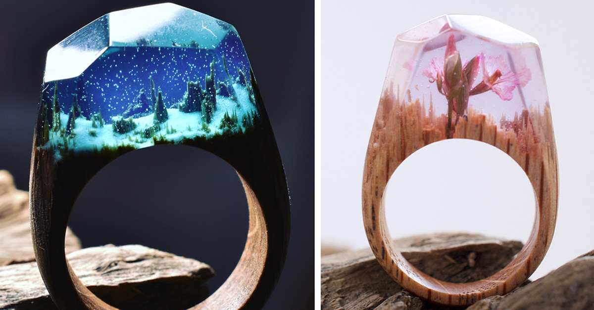 Mundo miniatura escondidos en lindos anillos de madera