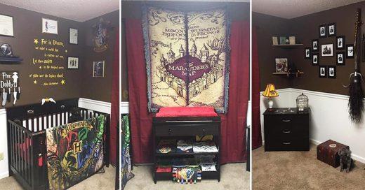 Pareja decora el cuarto de su bebé con tema de Harry Potter