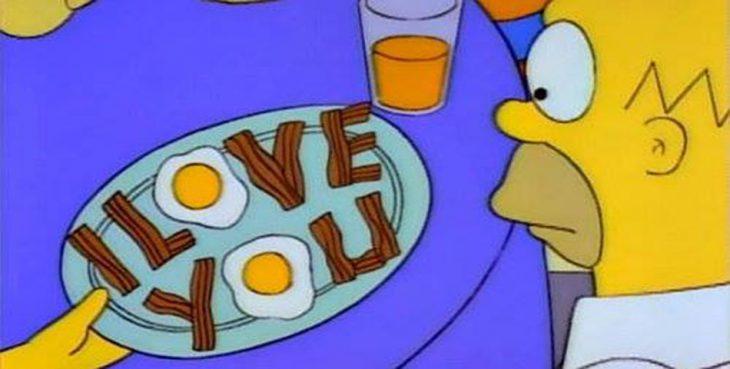 caricatura con desayuno que dice te amo