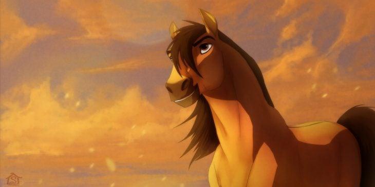 dibujos animados caballo amarillo