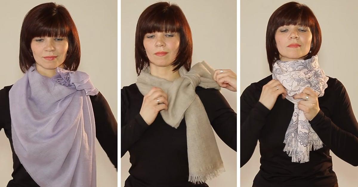 video muestra como aprender a poner una bufanda o mascada de diferentes maneras
