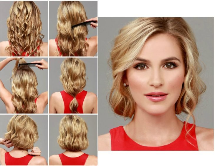 mujer cabello rubio tutorial peinados