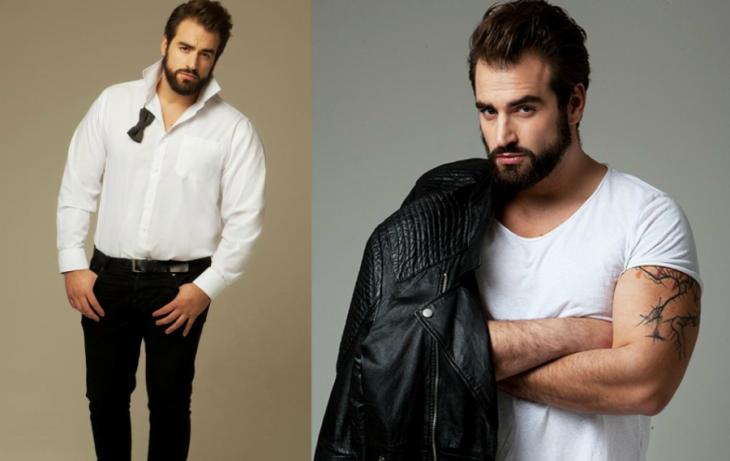 hombre talla grande modelo cabello negro y barba
