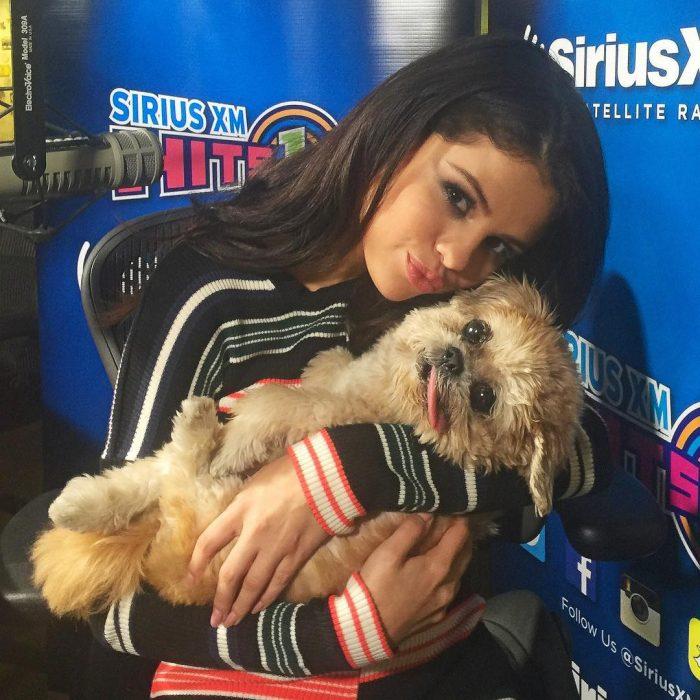 mujer con perro en sus brazos