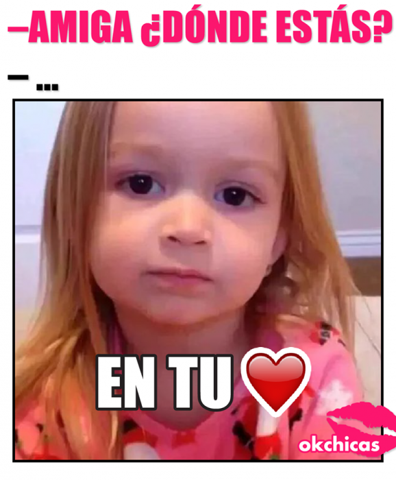 meme ok chicas niña rubia y corazon