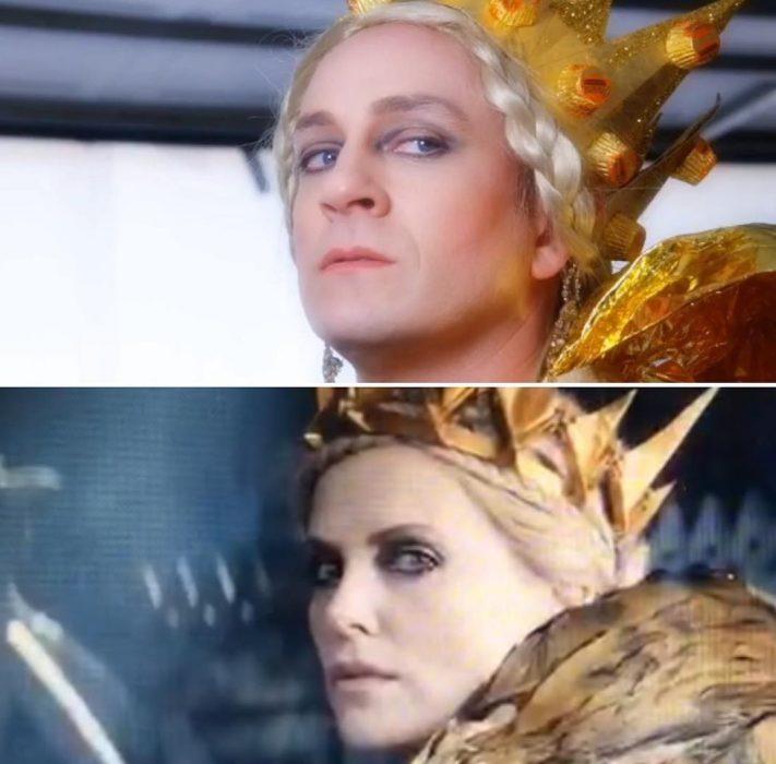 mujer con corona mira enojada y hombre trollea