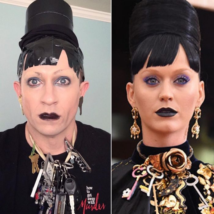 mujer con labios negros y un chongo alto