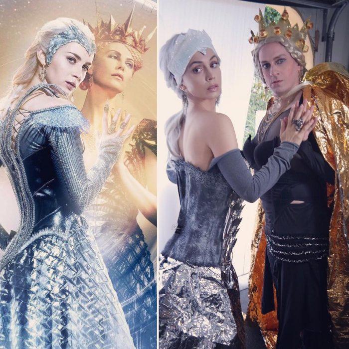 mujer con vestido plateado y mujer con corona