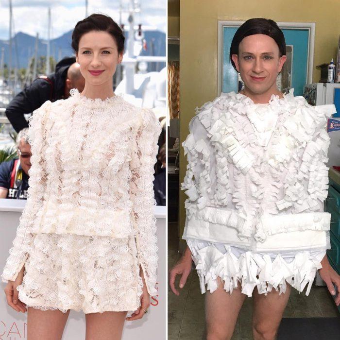 mujer con vestido blanco hombre con papel trollea