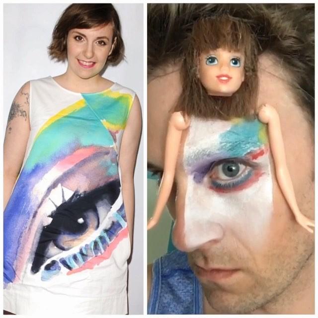 mujer y vestido con un ojo pintado y hombre con cabeza de muñeca
