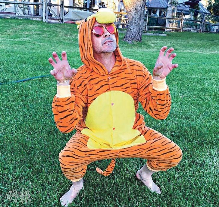robert downey jr disfrazado de tigre