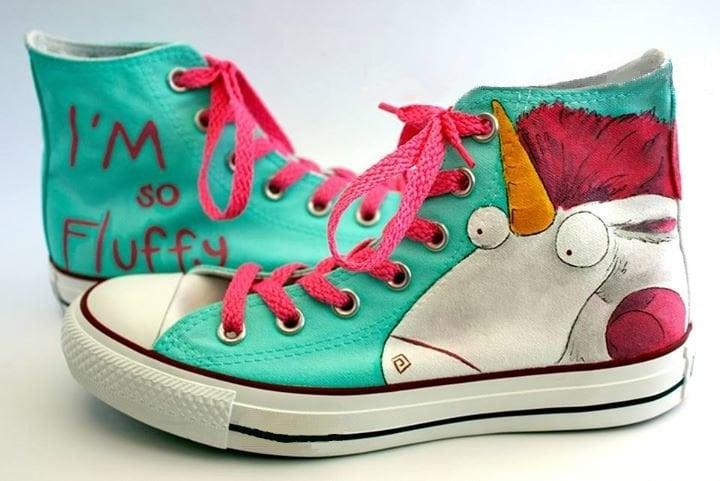 converse pintados a mano unicornio