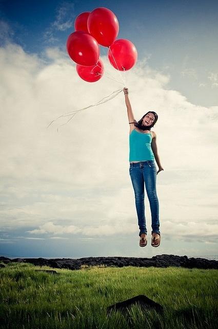 chica foto con globos